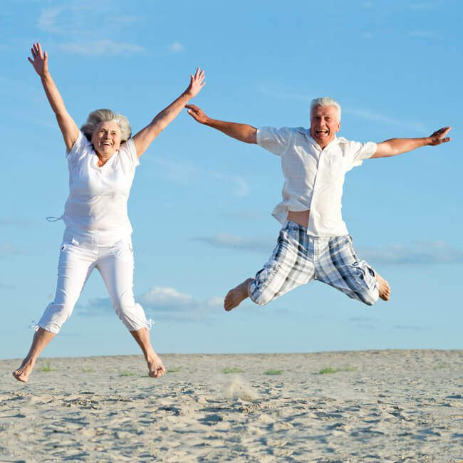 An image of beneficial effects for older people enjoining life jumping in the air.