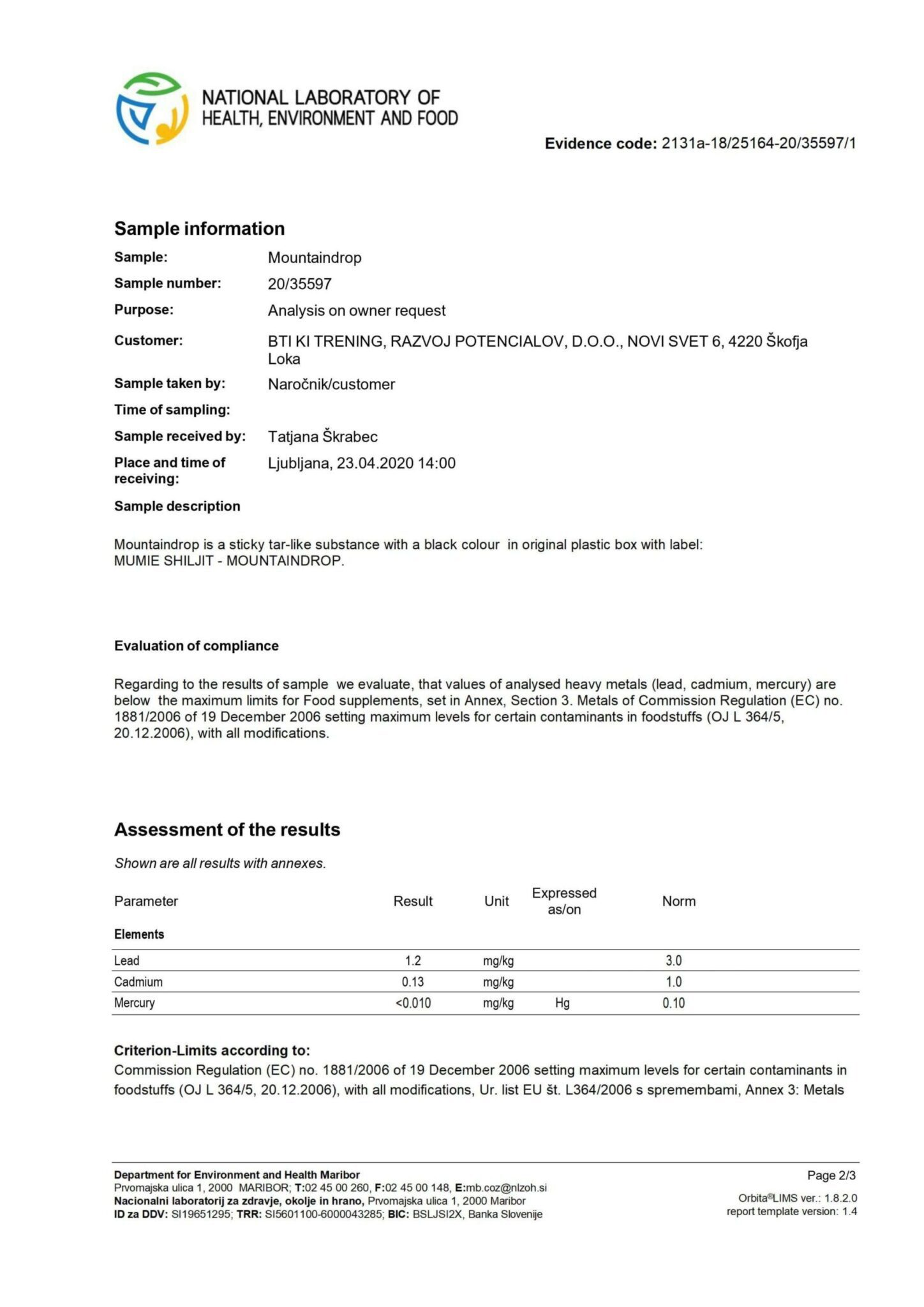 An image displaying scans of safety report for the mountaindrop product scan two